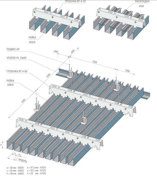 Схема монтажа кубообразных реек